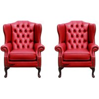 Chesterfield 2 x Mallory Wing Chairs Old English Gamay Red Leather Sofa Offer - DESIGNER SOFAS 4 U