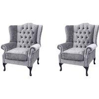 Designer Sofas 4 U - Chesterfield 2 x Mallory Wing Chairs Perla Illusions Velvet Sofa Suite Offer