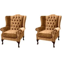 Designer Sofas 4 U - Chesterfield 2 x Mallory Wing Chairs Velvet Sofa Suite Offer
