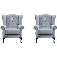 Designer Sofas 4 U - Chesterfield 2 x Mallory Wing Chairs Verity Plain Steel Fabric Sofa Suite Offer