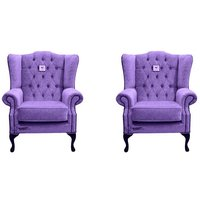 Chesterfield 2 x Mallory Wing Chairs Verity Purple Fabric Sofa Suite Offer