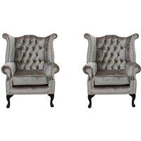 Designer Sofas 4 U - Chesterfield 2 x Queen Anne Chairs Boutique Beige Velvet Sofa Suite Offer