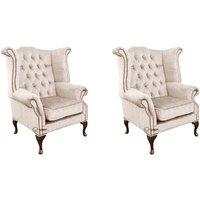 Designer Sofas 4 U - Chesterfield 2 x Queen Anne Chairs Harmony Ivory Velvet Sofa Suite Offer