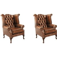 Chesterfield 2 x Queen Anne Chairs Leather Sofa Suite Offer Antique Tan - DESIGNER SOFAS 4 U