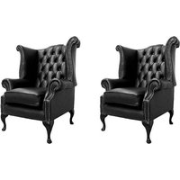 Designer Sofas 4 U - Chesterfield 2 x Queen Anne Chairs Old English Black Leather Sofa Offer