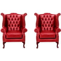 Chesterfield 2 x Queen Anne Chairs Old English Gamay Red Leather Sofa Offer