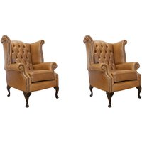 Chesterfield 2 x Queen Anne Chairs Old English Tan Leather Sofa Offer - DESIGNER SOFAS 4 U