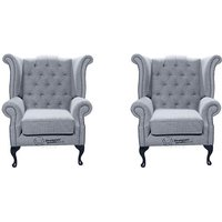 Designer Sofas 4 U - Chesterfield 2 x Queen Anne Chairs Verity Plain Steel Fabric Sofa Suite Offer