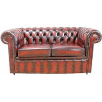 Chesterfield 2.5 Seater Sofa Bed Antique Oxblood leather - DESIGNER SOFAS 4 U