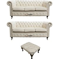 Chesterfield 3+3+footstool Leather Sofa Offer Ivory leather - DESIGNER SOFAS 4 U