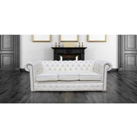 Designer Sofas 4 U - Chesterfield 3 Holyrood Seater White Leather Sofa Offer