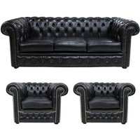 Designer Sofas 4 U - Chesterfield 3 Piece Leather Suite Three Seater Sofa + 2 x Club Chairs Old English Black