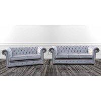 Chesterfield 3 Seater + 2 Seater Settee Perla Illusions Velvet Sofa Suite Offer