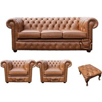 Chesterfield 3 Seater + 2 x Club Chairs + Footstool Old English Tan Leather Sofa Offer - DESIGNER SOFAS 4 U