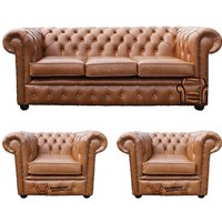 Chesterfield 3 Seater + 2 x Club Chairs Old English Tan Leather Sofa Offer - DESIGNER SOFAS 4 U