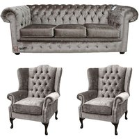Chesterfield 3 Seater + 2 x Mallory Wing Chairs Boutique Beige Velvet Sofa Suite Offer - DESIGNER SOFAS 4 U