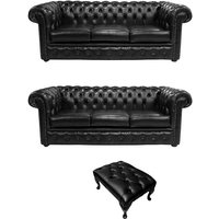 Designer Sofas 4 U - Chesterfield 3 Seater + 3 Seater + Footstool Old English Black Leather Sofa Offer