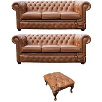 Designer Sofas 4 U - Chesterfield 3 Seater + 3 Seater + Footstool Old English Tan Leather Sofa Offer