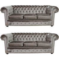 Designer Sofas 4 U - Chesterfield 3 Seater + 3 Seater Sofa Boutique Beige Velvet Sofa Suite Offer