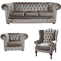 Designer Sofas 4 U - Chesterfield 3 Seater + Club Chair + Mallory Wing Chair Boutique Beige Velvet Sofa Suite Offer