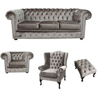 Chesterfield 3 Seater + Club Chair + Mallory Wing Chair + Footstool Boutique Beige Velvet Sofa Suite Offer