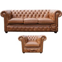 Chesterfield 3 Seater + Club Chair Old English Tan Leather Sofa Offer - DESIGNER SOFAS 4 U