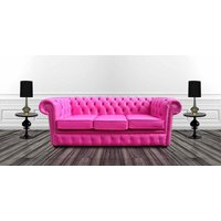 Chesterfield 3 Seater CRYSTALLIZED™ Diamond Fuchsia Pink Leather Sofa Offer - DESIGNER SOFAS 4 U