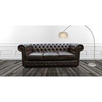 Chesterfield 3 Seater Espresso Brown Faux Leather Sofa Offer - DESIGNER SOFAS 4 U