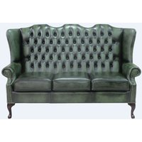 Designer Sofas 4 U - Chesterfield 3 Seater Mallory Queen Anne High Back Wing Sofa Chair Antique Green Leather