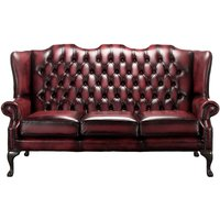 Designer Sofas 4 U - Chesterfield 3 Seater Mallory Queen Anne High Back Wing Sofa Chair Antique Oxblood Leather