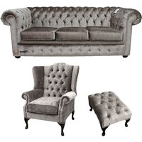 Chesterfield 3 Seater + Mallory Wing Chair + Footstool Boutique Beige Velvet Sofa Suite Offer