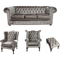 Designer Sofas 4 U - Chesterfield 3 Seater + Mallory Wing Chair + Queen Anne Chair + Footstool Boutique Beige Velvet Sofa Suite Offer