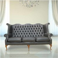Designer Sofas 4 U - Chesterfield 3 Seater Queen Anne High Back Wing Chair UK Manufactured Black