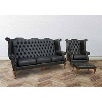 Designer Sofas 4 U - Chesterfield 3 Seater + Queen Anne High Back Wing Chair UK Manufactured Black