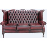 Designer Sofas 4 U - Chesterfield 3 Seater Queen Anne High Back Wing Sofa Chair Antique Oxblood Leather