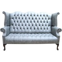 Designer Sofas 4 U - Chesterfield 3 Seater Queen Anne High Back Wing Sofa Cracked Wax Ash Grey Leather