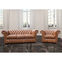 Chesterfield 3 Seater Settee + Club Chair Old English Tan Leather Sofa Suite Offer - DESIGNER SOFAS 4 U