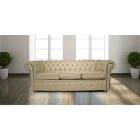 Designer Sofas 4 U - Chesterfield 3 Seater Settee Cream Cottonseed Leather Sofa Offer