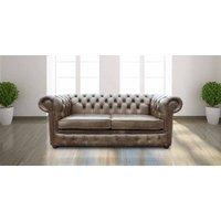 Designer Sofas 4 U - Chesterfield 3 Seater Settee Old English Alga Leather Sofa