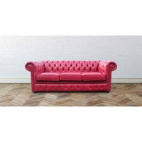 Chesterfield 3 Seater Settee Old English Gamay Leather Sofa - DESIGNER SOFAS 4 U