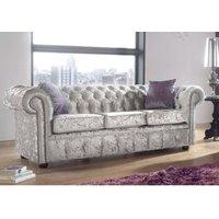Designer Sofas 4 U - Chesterfield 3 Seater Settee Shimmer Silver Velvet Sofa Offer