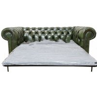 Chesterfield 3 Seater Settee Sofa Bed Antique Green - DESIGNER SOFAS 4 U