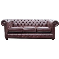 Chesterfield 3 Seater Settee Sofa Bed Old English Red Brown - DESIGNER SOFAS 4 U