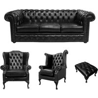 Designer Sofas 4 U - Chesterfield 3 Seater Sofa + 1 x Mallory Wing Chair + 1 x Queen Anne Chair + Footstool Old English Black Leather Sofa Offer