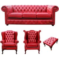 Designer Sofas 4 U - Chesterfield 3 Seater Sofa + 1 x Mallory Wing Chair + 1 x Queen Anne Chair + Footstool Old English Gamay Red Leather Sofa Offer