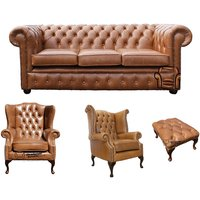 Designer Sofas 4 U - Chesterfield 3 Seater Sofa + 1 x Mallory Wing Chair + 1 x Queen Anne Chair + Footstool Old English Tan Leather Sofa Offer