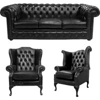 Chesterfield 3 Seater Sofa + 1 x Mallory Wing Chair + 1 x Queen Anne Chair Old English Black Leather Sofa Offer - DESIGNER SOFAS 4 U