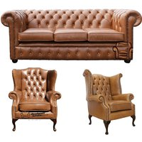 Designer Sofas 4 U - Chesterfield 3 Seater Sofa + 1 x Mallory Wing Chair + 1 x Queen Anne Chair Old English Tan Leather Sofa Offer