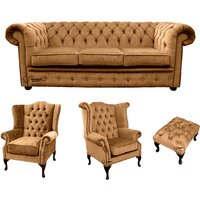 Chesterfield 3 Seater Sofa + 1 x Mallory Wing Chair + 1 x Queen Anne Wing Chair + Footstool Harmony Gold Velvet Sofa Suite Offer