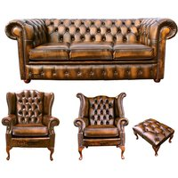 Designer Sofas 4 U - Chesterfield 3 Seater Sofa + 1 x Mallory Wing Chair + 1 x Queen Anne Wing Chair+footstool Leather Sofa Suite Offer Antique Gold